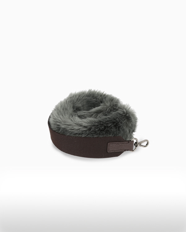 BOHEMIAN FUR STRAPGREEN GRAY[★ Enjoy Mix & Match with Meeori Bag ★]